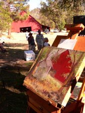 My painting of the barn at the Heart K Ranch, which sold at auction for $300.